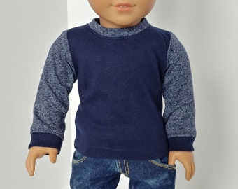 "Boy doll shirt. Fits like American girl  doll clothing. 18"" boy doll clothes .Long sleeve top"
