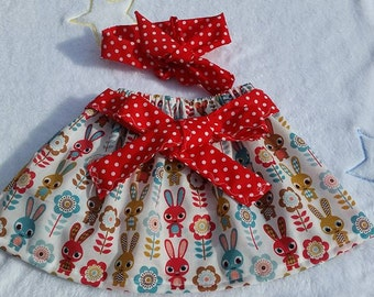 Bunny skirt with contrasting red/white polka dots head band  3/6 months baby girl
