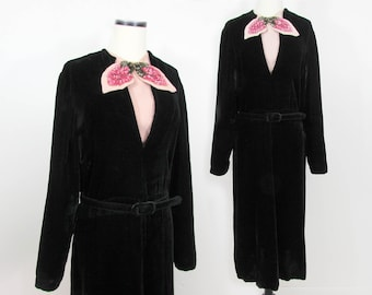 1930s-40s Black Velvet Dress with pink sequin trim by Bloomfield Creations  - Med