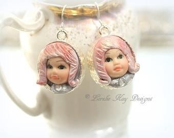 Little Dolly Doll Head Earrings Pink Hair Girl Sterling Silver Earrings Drop Earrings