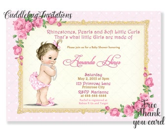 Girl Baby Shower Invitation | Baby Girl Shower Invitation | Pink Gold Roses |  Vintage Shower Printable | Pink Girl Baby Shower Invitation