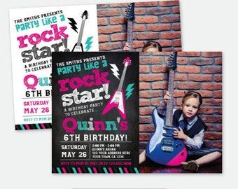 Rock Star Girl Invitation with Photo, Rock Invitations, Rockstar Birthday Party, Personalized Digital Invitation, 2 options