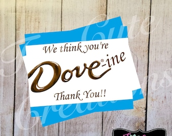 Thank Tou Tags//Dove Chocolate Thank You Stickers/Tags// Teacher Appreciation, Staff Appreciation