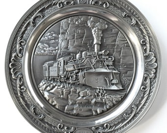 Rhodes Studios Legendary Steam Trains The K-28 2-8-2 Sterling Pewter Vintage Collectors Plate Certificate of Authentication and Literature