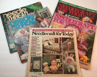 Lot of 5 Vintage Needlecraft Magazines- Needle & Thread-Needlecraft for Today-Craft Magazines-1980s