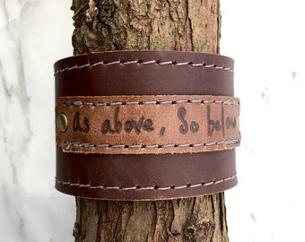 As Above, So Below - Leather Cuff with Snap Closure