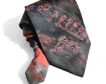 Musical Notes Tie. Gift for Him. Hand Painted Silk Tie Grey Red Man Tie. OOAK Silk Tie. Silk Neck Tie. Grooms Wedding Tie. MADE to ORDER