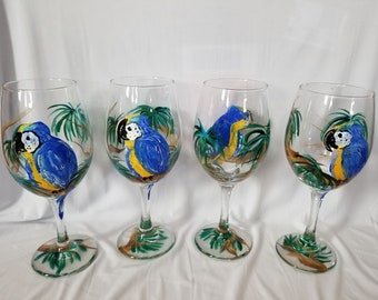 Blue and Gold Macaw Parrot in the Jungle - Hand Painted Wine Glasses (Set of 4)