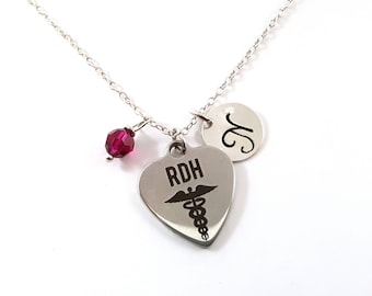 RDH (Dental Hygienist) -Silver- Swarovski Birthstone - Personalized Initial Necklace - Sterling Silver Jewelry - Gift for Her