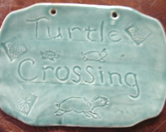 Ceramic Turtle Crossing Yard or Driveway Tile