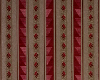 French Original Wallpaper Stripe Gold Pink Bold 1920s