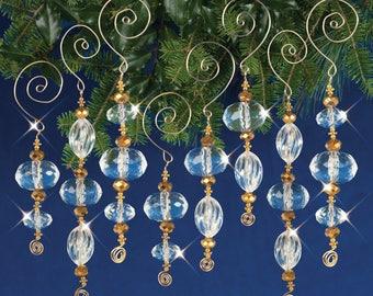 Crystal / Gold Icicles - Crystal Beaded Christmas Ornament Kit (NC001)