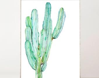 Cactus Print Cactus Wall Art Watercolor Print Botanical Print Cactus Decor Watercolor Cactus Painting Botanical Poster Saguaro Cactus Art