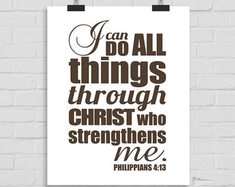 I Can Do All Things Through Christ Who Strengthens Me, Scripture Wall Art, Christian Wall Print, Bible Verse, Bible Print, Phillipians 4:13