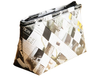 Makeup case using magazine paper, FREE SHIPPING, vegan case, eco-friendly makeup bag, toiletry recycled gifts, ethical gifts