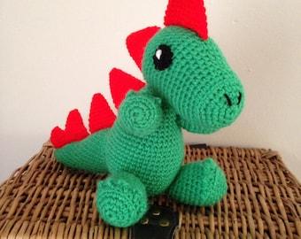 Handmade dragon toy, crochet toy, toddler toy