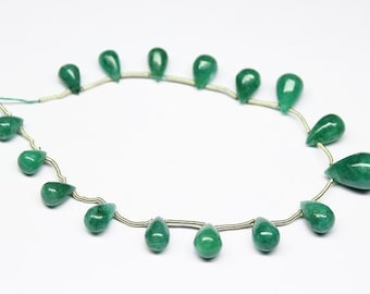 Green Emerald Smooth Briolette Tear Drop Gemstone Beads 7 Inches 14mm 9mm - Jewelry Supplies