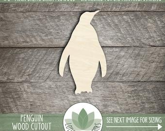 Wood Penguin Shape, Unfinished Wood Penguin Laser Cut Shape, DIY Craft Supply, Many Size Options, Blank Wood Shapes
