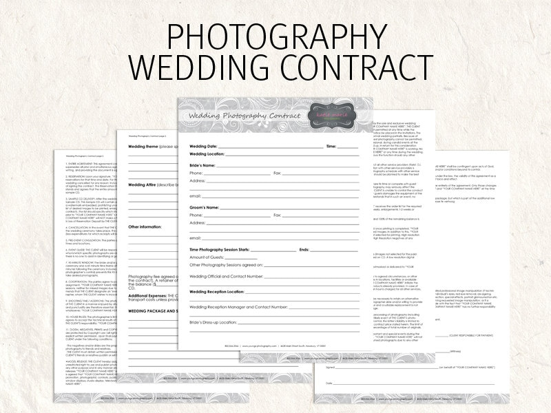photographer wedding contract template
