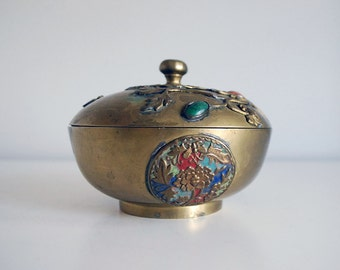 Chinese Brass Bowl, 1920s Trinket Box, Enamel Brass Dish, Jewelry Box, Peking Glass Cabochon, Metal Container, Asian Home Decor, Chinoiserie