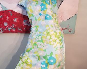 FREE  SHIPPING   1960  Silk  Floral  Shift  Dress
