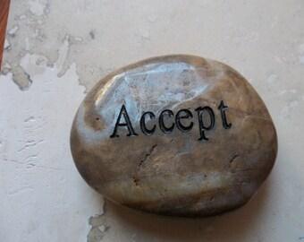 Accept Engraved Energy River Rock