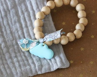 Bracelet child cloud blue wooden beads and Liberty