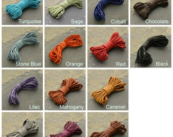 2 mm Cord, Leather Cord, Thin Leather Cord, Deer Hide Leather, Deer Hide Cord, Colorful Leather, Colorful Cord, DIY Necklace, DIY Bracelet
