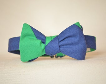 Boy's Bow tie in Navy and Jade Stripe