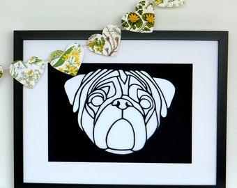 Pug Papercut, Pug Dog paper cut, Unframed, Original hand cut Pug artwork,  Dog art