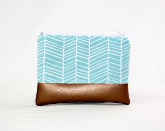 MIDI bag - turquoise copper, bag, cosmetic bag, purse, make-up bag, vegan, minimalist, pouch, pencil case,
