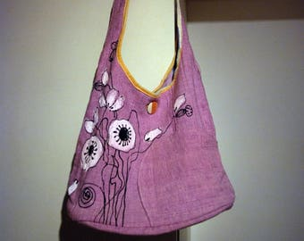 Holiday poppy flowers shoulder bag, pink lilac delicate
