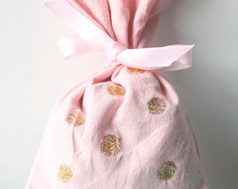 10 x PINK & GOLD polka dot PARTY favour bags, pink party favour