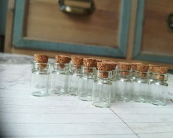 20 Miniature Glass Bottle jar Clear Glass Bottle Potion Witch Potion Bottle Fantasy Poison Mini Small Tiny Bottle 19mm Cork