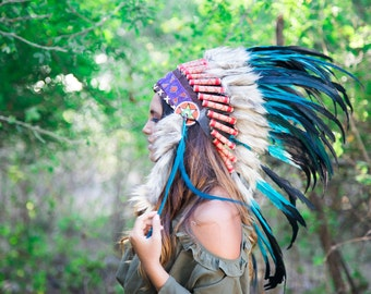 The Original - Real Feather Aqua Chief Indian Headdress Replica 75cm, Native American Style Costume Hand Made War Bonnet Hat