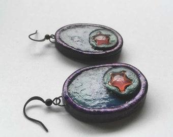 Earrings, Handmade Earrings, Hand painted Earrings, Transparent Earrings, Translucent Earrings, Star Earrings, Boho Earrings, Clay Earrings