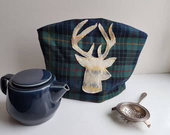 Vintage tartan fabric handmade tea cosy/cozy with fairisle stag appliqué lined with red linen for a medium teapot