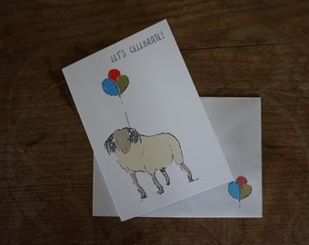 Sheep // Let's Celebrate! // Greetings Card