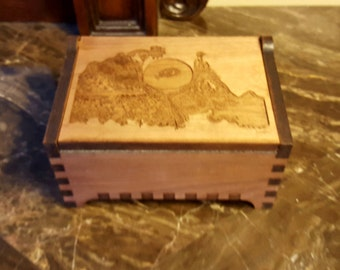 Custom Wooden Jewelry Box - Art Nouveau - Laser Cut and Engraved