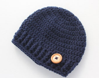 Crochet baby hat, baby boy hat, navy blue, boy winter hat, infant hat, crochet beanie,  baby shower gift MADE TO ORDER