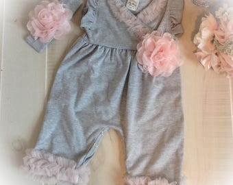Newborn Girl Take Home Outfit, Gray and Pink Newborn Ruffle Romper, Baby Girl Outfit