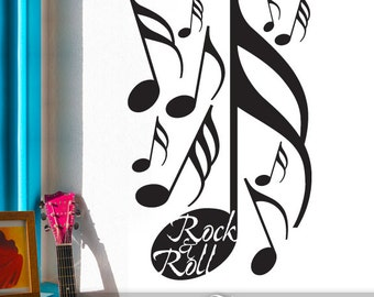 Wall Stickers - Music Wall Decals for Rock and Roll Decor with Music Notes Vinyl Wall Sticker, Gift for Music Student (018a5v)
