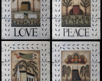 Love, Peace, Praise, and Thanks Art Prints. New England Style Primitive Folk Art by Donna Atkins. Sheep, Angel, Saltbox, Church.