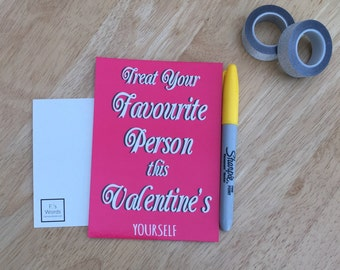 Treat Yourself | Funny Feminist Valentine's Joke Galentine's Day Postcard Art Print, Gift for Friend | ONE LEFT