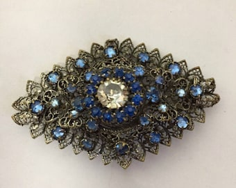 1930s glass and filigree brooch
