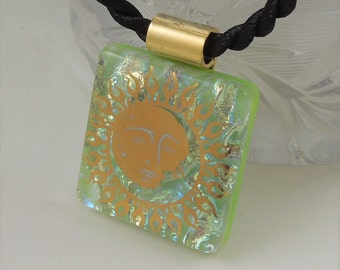 Sun Necklace - Solar - Dichroic Fused Glass Pendant - Fused Glass - Image Pendant - Dichroic Glass - Eclipse X8364