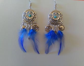 Asymmetric blue Rooster feather earrings