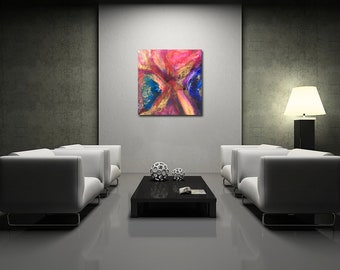 Fluttering- Original Large Abstract Painting - Colorful Resin Art