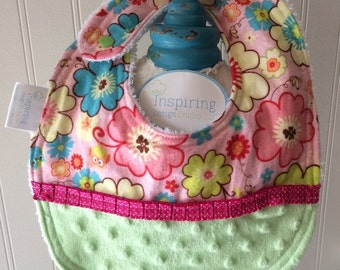Baby-Bibs-Personalized-Toddler-Girls-PInk-Flowers-Owls-Minky-Dot-Drool-feed-Newborn-essentials-accessories-Nurssery-Shower-Birthday-Gifts