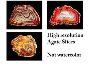 Agate art, agate print, agate slice art, Mineral, agate wall art, high resolution, mineral photography, mineral art, mineral slice, set of 3